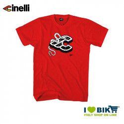 Maglietta Cinelli Mike Giant, maniche corte, in cotone, rossa