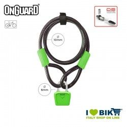 Lucchetto Cavo 120cmx8mmx10mm OnGuard Neon Bull, Verde Fluo