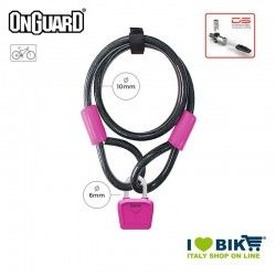 Lucchetto Cavo 120cmx8mmx10mm OnGuard Neon Bull, Fuxia Fluo