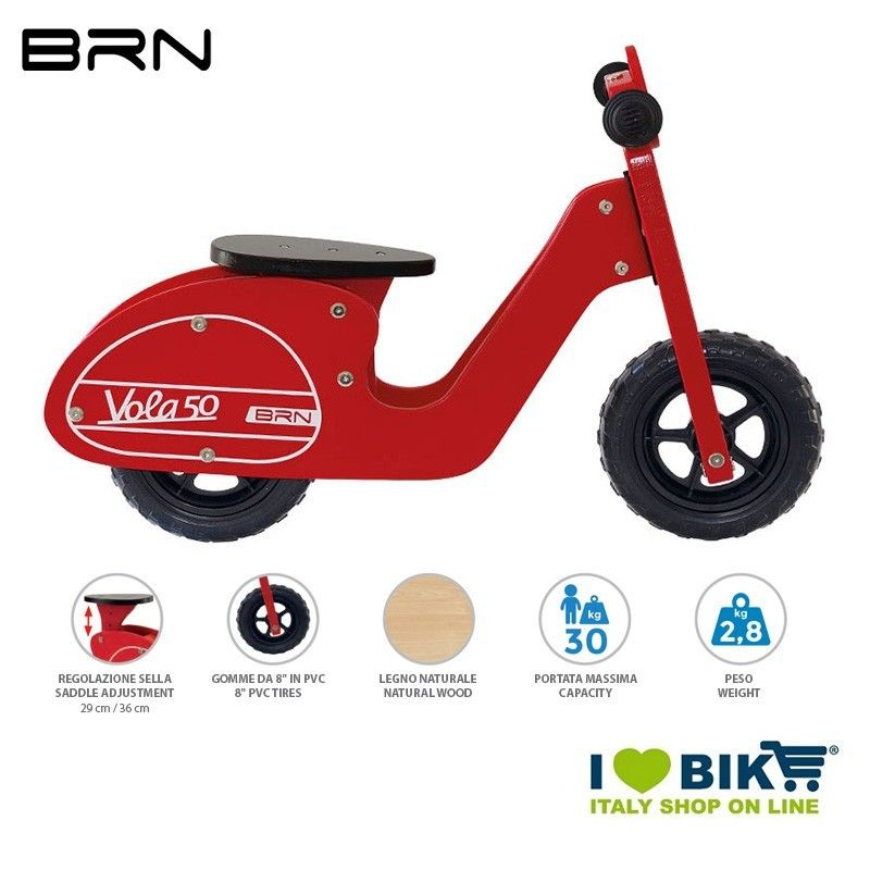 Wooden bike without pedals BRN VOLA 50, red BRN - 1