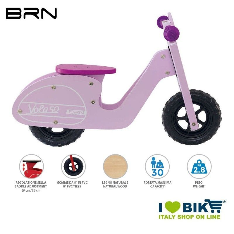Wooden bike without pedals BRN VOLA 50, Pink BRN - 1