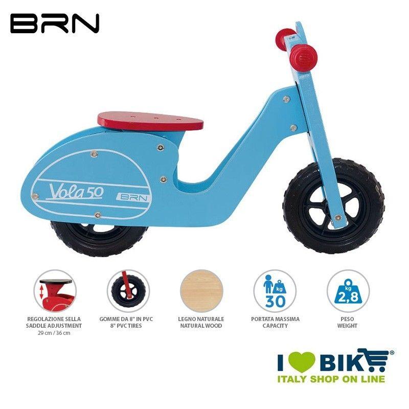 Wooden bike without pedals BRN VOLA 50, Light Blue BRN - 1