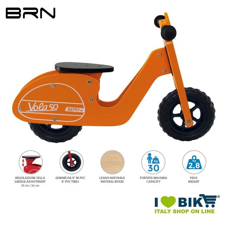 Bici Senza Pedali In Legno Brn Vola 50 Arancione