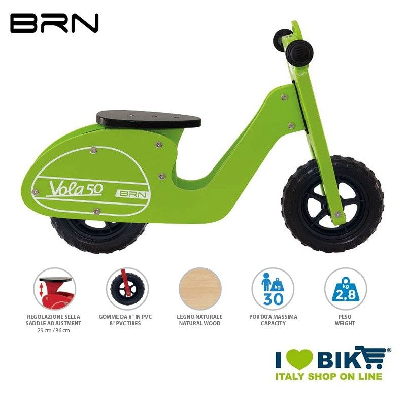 Wooden bike without pedals BRN VOLA 50, Green BRN - 1