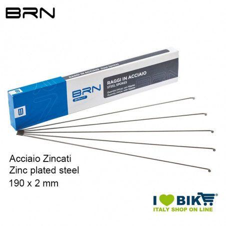 Raggi BRN in Acciaio con nipples 190 x 2 mm, 144 Pz.