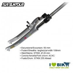 "Forcella Suntour 28"", Ammortizzata SL 255 mm, SF9 CR-9V D 700C 1.1/8"" Ahead 50mm, argento"
