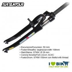 "Forcella Suntour 28"" Ammortizzata SL 150 mm SF9 CR-9V D 700C 1.1/8"" 50mm, nera"