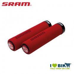 Manopole Soft per GripShift 129mm rosso con collarino nero + tappi
