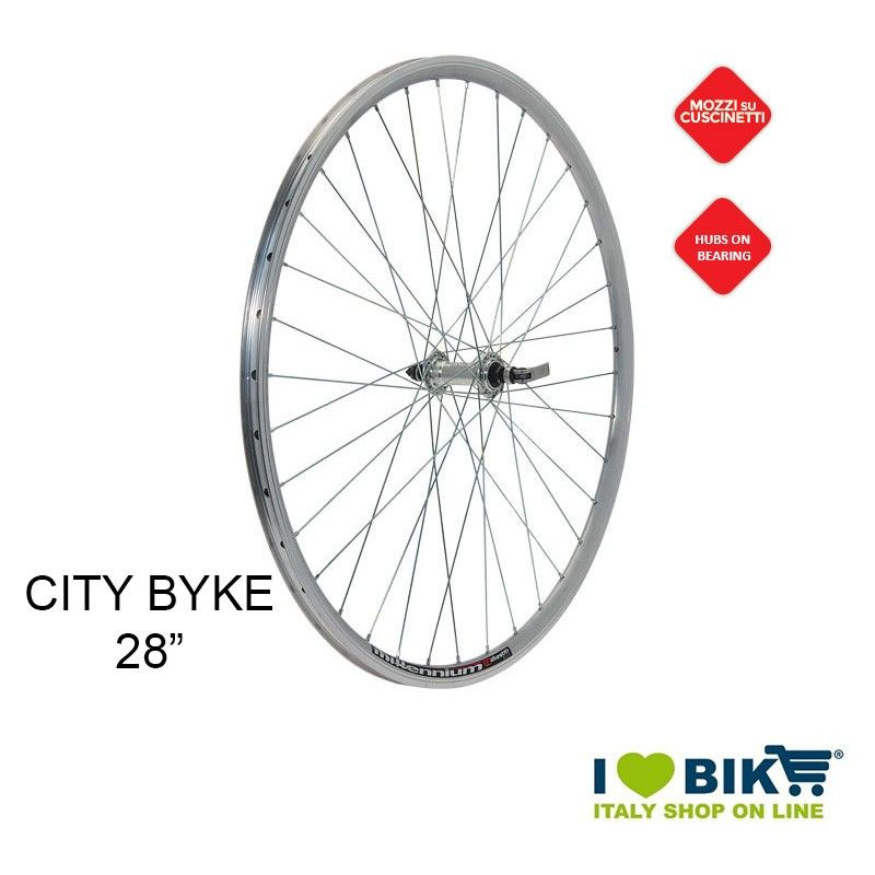 Ruota 28 City-Bike V-24 posteriore Silver a filetto 7/8 v 36 fori silver tornito