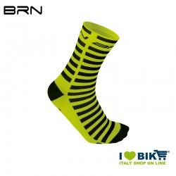 Cycling socks BRN Stripes Yellow Fluo/Black