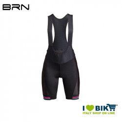 Pantaloncino Ciclismo Donna BRN con bretelle, Nero fuxia fluo