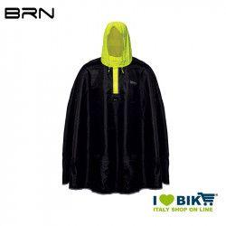 BRN Rain Poncho for adult black yellow fluo