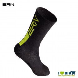 BRN Merino Wool Cycling Socks black/giallo fluo