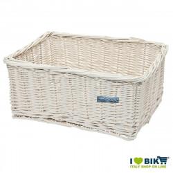 Wicker basket white rectangular