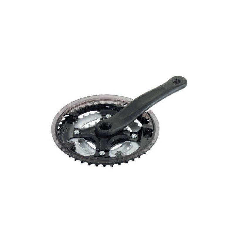 black aluminum MTB crankset 24/34/42 (R + L)  - 1