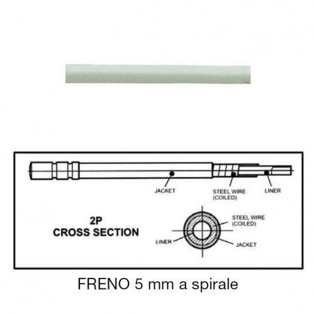 brake cable 5 mm Teflon type with white spiral 1 meter
