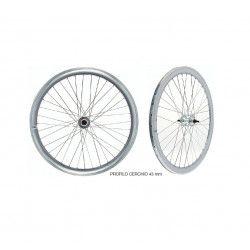 """Coppia ruote Fixed 28"""" silver a specchio - profilo 43 mm"""