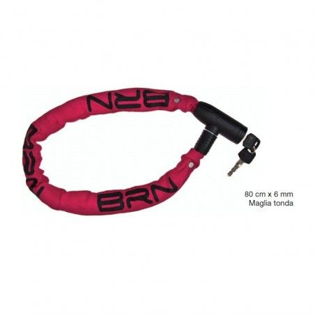 Padlock Chain Blindo 80 cm x 6 mm round mesh fabric in red