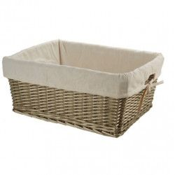 Large wicker aged basket with liner