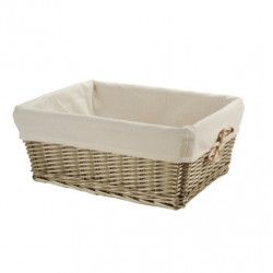 Small aged wicker basket with liner