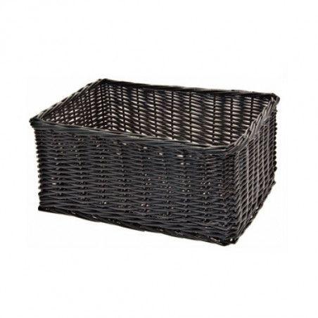 Wicker basket black rectangular