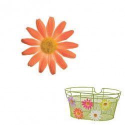 FI50A Fiore Margherita piccola arancio per ornare cesto bici accessori colorati fiori plastica decorazioni