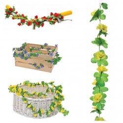 GH10G Ghirlanda con fiori gialli per ornare cesto bici accessori colorati fiori plastica decorazioni