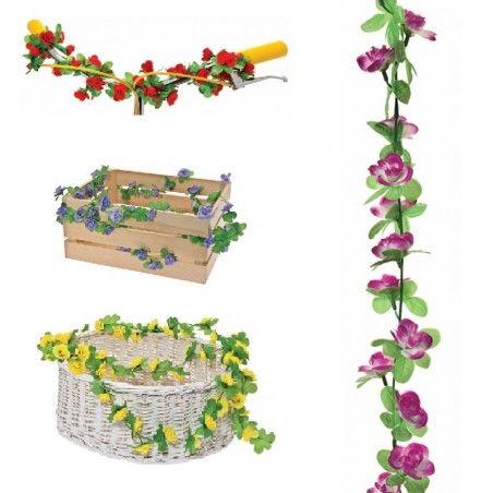GH10P Ghirlanda con fiori rosa per ornare cesto bici accessori colorati fiori plastica decorazioni
