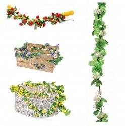 GH10B Ghirlanda con fiori Bianca per ornare cesto bici accessori colorati fiori plastica decorazioni