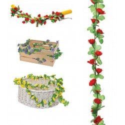 GH10R Ghirlanda con fiori rossi per ornare cesto bici accessori colorati fiori plastica decorazioni