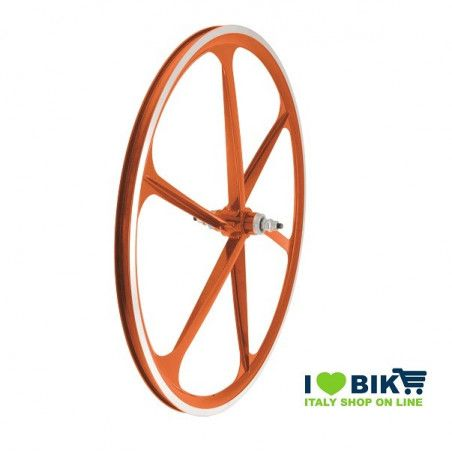 Couple Fixed alloy wheels, 30mm profile 6 fathoms, orange color