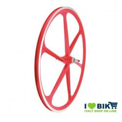 Couple Fixed alloy wheels, 30mm profile 6 fathoms, red color