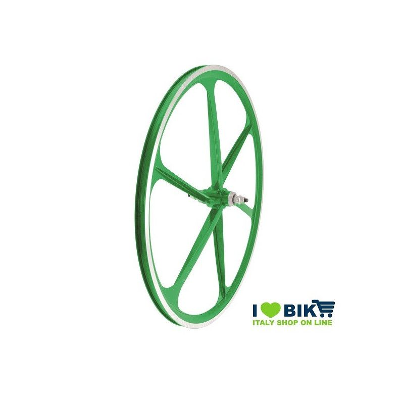 Couple Fixed alloy wheels, 30mm profile 6 fathoms, green color RMS - 1