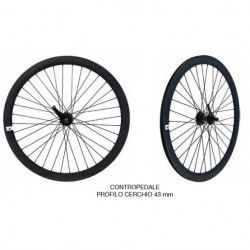 """Coppia ruote Fixed 28"""" nere con mozzo contropedale"""