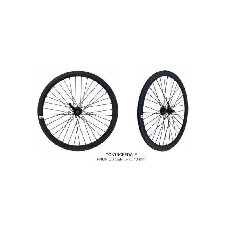 Fixed black pair of wheels with coaster brake hub  - 1