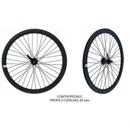 Fixed black pair of wheels with coaster brake hub