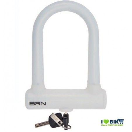 LU15B Lucchetto colorato biancoPER BICI ad arco Fixed Lock in silicone negozio accessori ricambi vendita bici