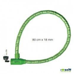 LU55V lucchetto verde a pitone doppio blindo colorato per bici negozio accessori ricambi vendita bici