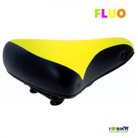 SE08FG Sella fluo giallo per bicicletta colorata fluorescente graziella retro accessori bici e ricambi su ilovebike