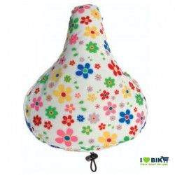 Padded seat cover with white flowers