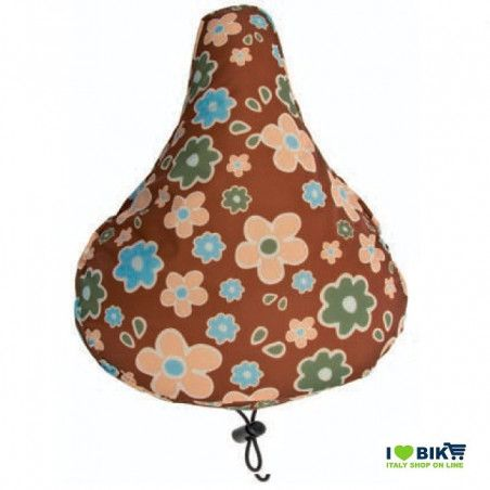 Padded seat cover with brown flowers