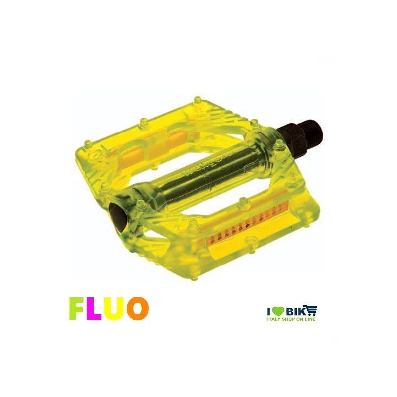 """Couple of Pedals Fixed / Bmx plastic pin with large 9/16 """" FLUO yellow  - 1"""