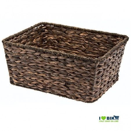 Natural Hyacinth rectangular bike basket