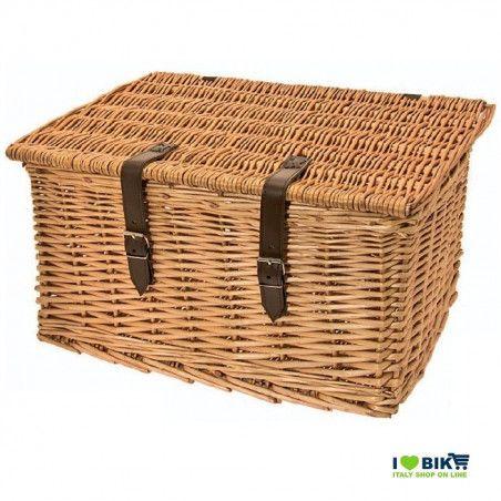 Wicker bike basket Baule small natural cover