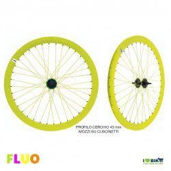 """Coppia Ruote Fixed 28"""" FLUO giallo"""