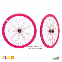 Pair Wheels Fixed FLUO pink  - 1