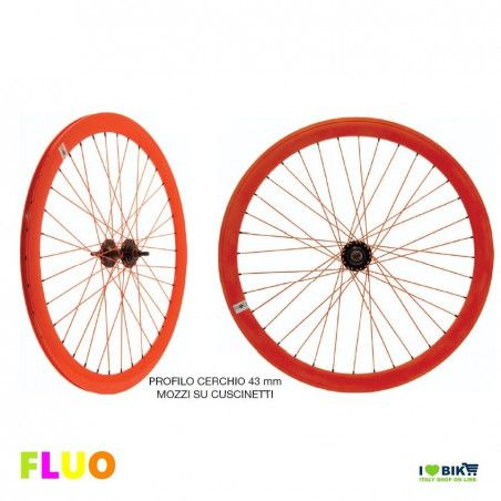 Pair Wheels Fixed FLUO orange