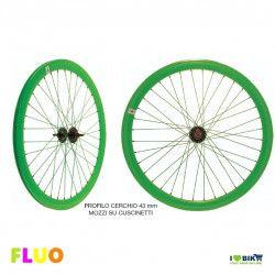 "Coppia Ruote Fixed 28"" FLUO verde"