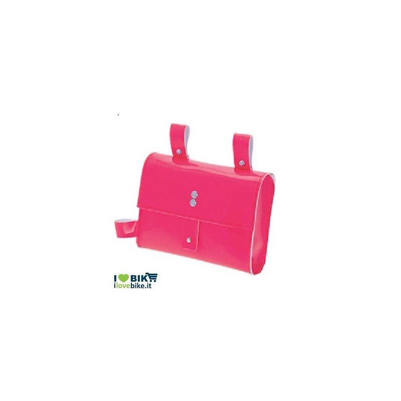 BO05FF fixed bike borsa rosa fluo al telaio per bici corsa scatto fisso vendita ol line shop accessori