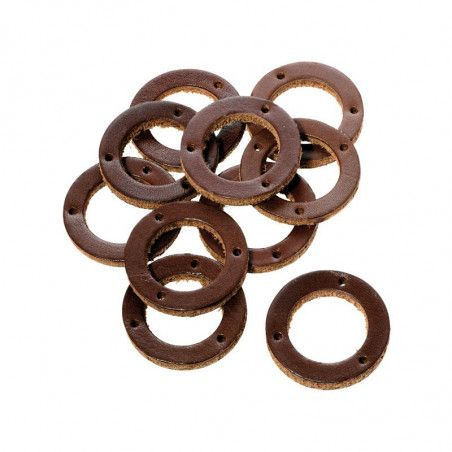 Rings Leather grips Brooks brown (10 pieces)